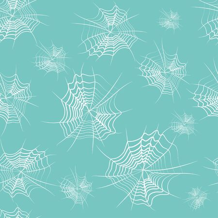 Seamless pattern: spider web in white on a blue background. Vector. Illustration Banque d'images - 131183949