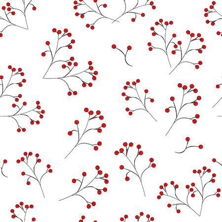 Seamless pattern: red berries on a black stalk on a white background. vector. illustration. can be used as a print for fabric Banque d'images - 131183952