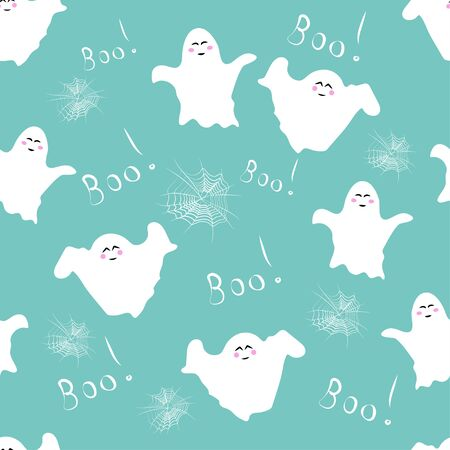 Seamless pattern: spider web, ghosts and the word boo in white on a blue background. Vector. Illustration Banque d'images - 131183955