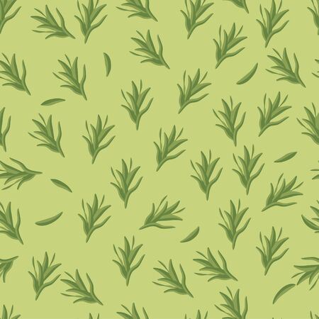 Seamless pattern: rosemary herb on a green background. Flat Vector. Illustration Ilustracja