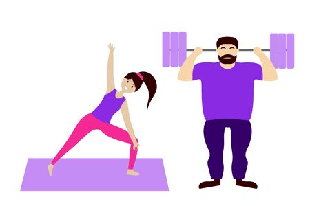 Sports family: a man with a barbell and a girl doing yoga. Isolated figures of people. Flat vector. Illustration. Banque d'images - 131183958