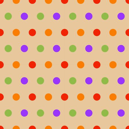 Seamless pattern: multi-colored polka dots on a beige background. vector. illustration Banque d'images - 131917172