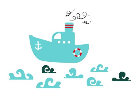 Isolated blue boat and waves on a white background. flat vector. illustration