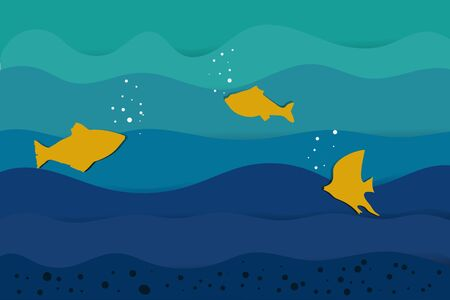 yellow fish and sea in paper cut style. vector. illustration Banque d'images - 131245755