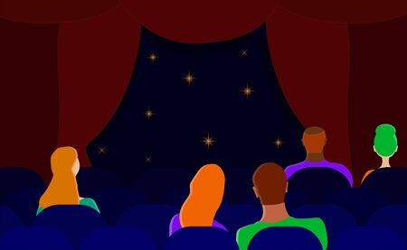 Spectators in the theater hall. a couple in the back row of the cinema. flat vector. illustration Illusztráció