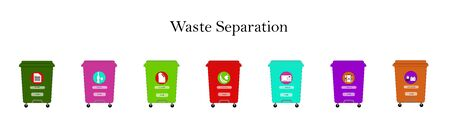 waste separation containers. flat vector. illustration Banque d'images - 131917175