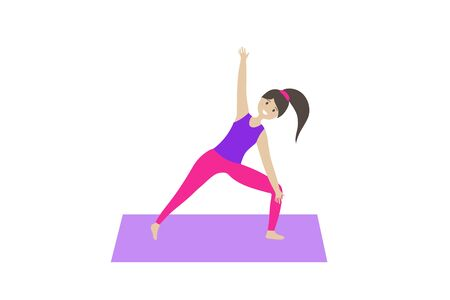 Girl doing yoga on a rug on a white background. flat vector. illustration