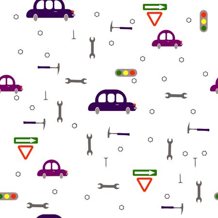 Seamless pattern: isolated transport and tools on a white background. cars, tools and signs. flat vector. illustration Stock fotó - 131917181