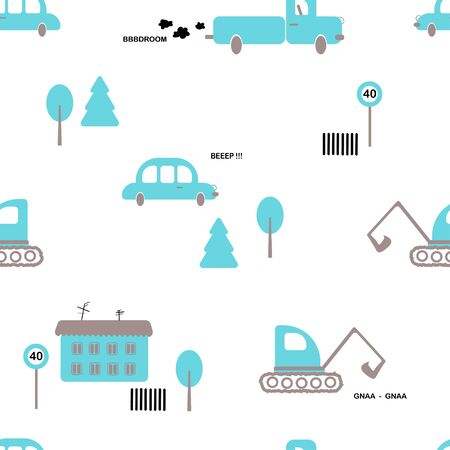 Seamless pattern: isolated transport of blue color on a white background. cars, houses and trees. flat vector. illustration Banque d'images - 131917182