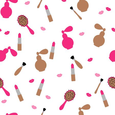 Seamless pattern: isolated cosmetics and makeup accessories. flat vector. illustration Banque d'images - 131917183
