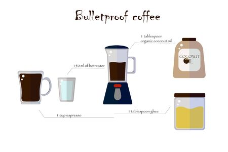 A recipe for bulletproof coffee. Coffe maker, jars, mug and glass on a white background. Flat vector. illustration