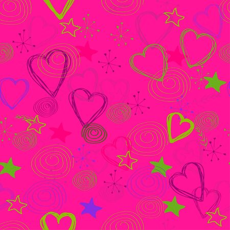 seamless background. Pattern of hearts, stars and doodles on a pink background. vector. illustration