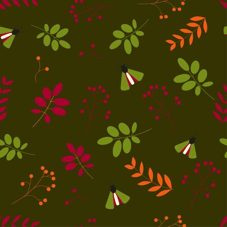 Autumn seamless background. Pattern of leaves, insects and berries on a dark green background. vector. illustration Banque d'images - 131917186