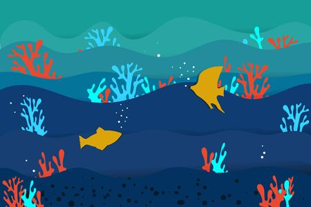 waves on the sea, fish and corals in the style of paper cut. vector. illustration Banque d'images - 131917188