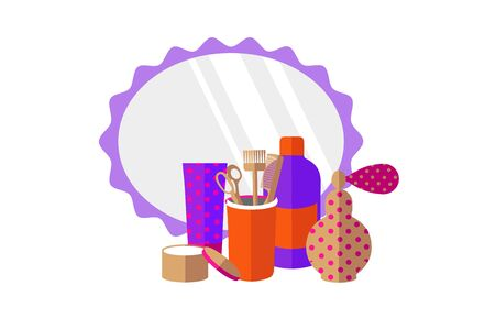 Isolated barber tools and mirror on a white background in flat vector style. illustration Banque d'images - 131917192