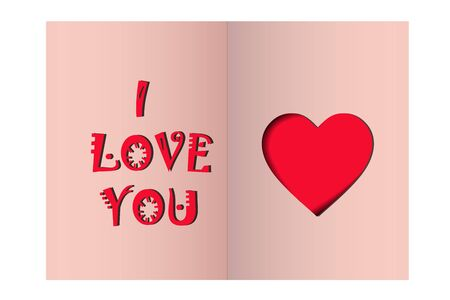 Greeting card for Valentines Day. inscription i love you and heart on a pink background. vector. illustration Çizim