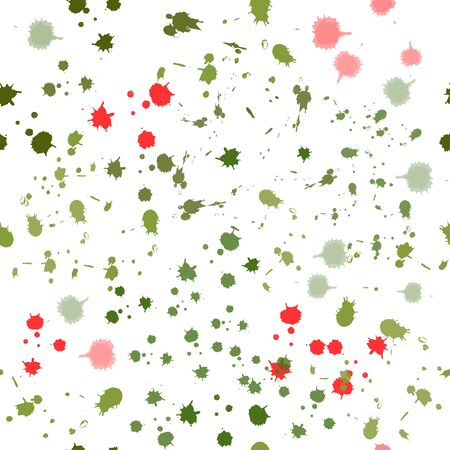 seamless pattern: isolated colored watercolor green and red blots on a white background. vector. illustration Banque d'images - 131917193