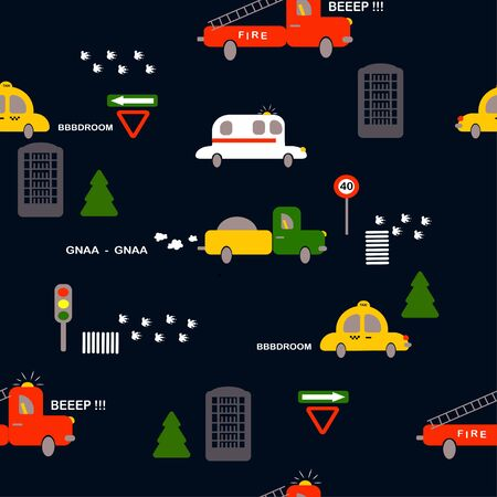 seamless pattern: isolated colored cars, houses and road signs on a dark background. vector. Children's illustration for boys. Banque d'images - 131917199