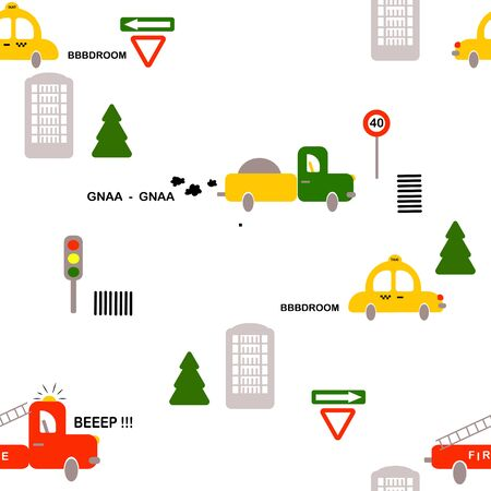 seamless pattern: isolated colored cars, houses and road signs on a white background. vector. Children's illustration for boys. Banque d'images - 131917201