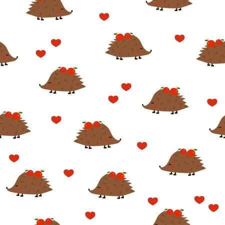Seamless pattern: isolated cute hedgehogs with apples on needles and hearts on a white background. flat vector. illustration