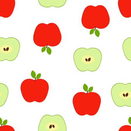 Seamless pattern: isolated red and green apples on a white background. flat vector. illustration Banque d'images - 131917206