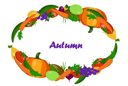 Autumn frame of vegetables on a white background. flat vector. illustration Çizim