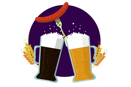 Two glasses of beer dark and light and a sausage on a fork. flat vector. illustration Banque d'images - 131917207