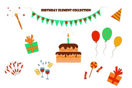 Isolated elements for birthday and celebration on a white background. cake, balls, gifts, sweets. flat vector. illustration Banque d'images - 131710488