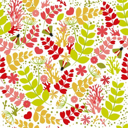 Seamless pattern: isolated plant elements, leaves, insects, doodles, flowers on a white background. Vector. illustration Banque d'images - 131917208