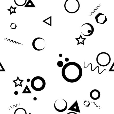 Seamless pattern: isolated geometric shapes in black on a white background. Vector. illustration Banque d'images - 131917211