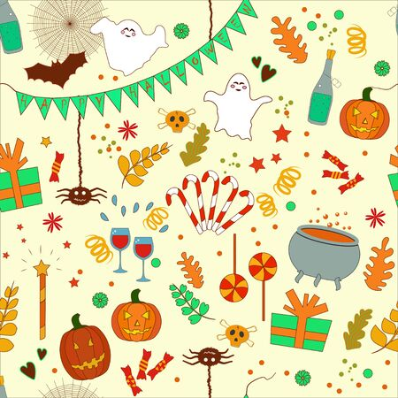 Seamless pattern: isolated objects for Halloween: gifts, ghosts, candies on a beige background. Vector. illustration Фото со стока - 131917215