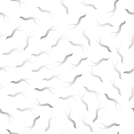 Seamless pattern: isolated abstract black fish contours. Sperm cells on a white background. Vector. illustration Banque d'images - 131917217