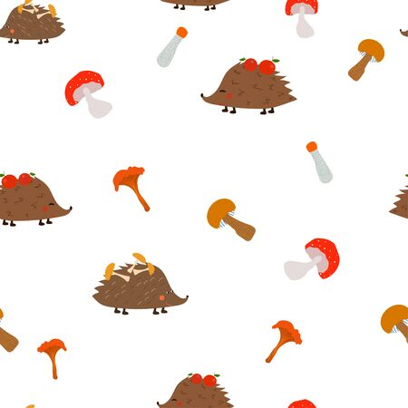 Autumn seamless pattern: isolated cute hedgehogs and mushrooms on a white background. flat vector. illustration Banque d'images - 132514172