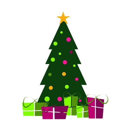 Isolated green christmas tree and gifts under it on a white background. flat vector. illustration Banque d'images - 132018907