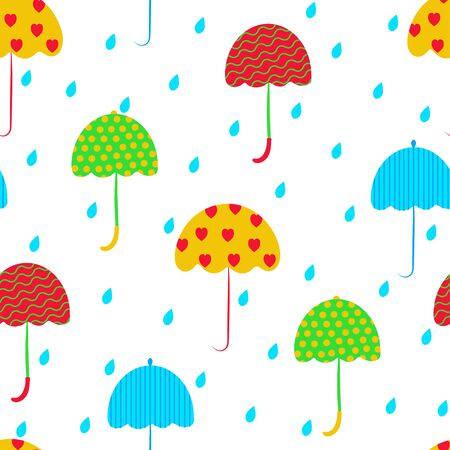 Seamless pattern: multi-colored umbrellas and rain on a white background. vector. illustration Banque d'images - 132514174