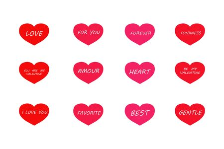 Isolated pink and red hearts with inscriptions for Valentine's Day on a white background. vector. illustration Banque d'images - 132514175