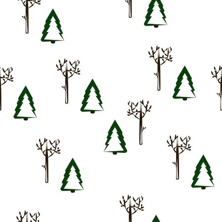 Seamless pattern: winter trees on a white background. vector. illustration Banque d'images - 132514176