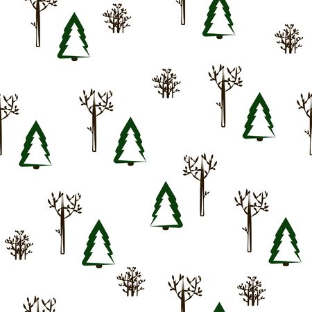 Seamless pattern: isolated winter forest on a white background. vector. illustration Banque d'images - 132514177