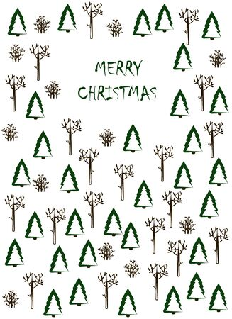 Christmas card. Winter forest and the inscription merry christmas on a white background. vector. illustration Banque d'images - 132514178