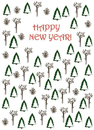 New Year card. Winter trees and bushes and the inscription Happy New Year on a white background. vector. illustration Banque d'images - 132514179