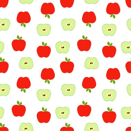 Seamless pattern: isolated red and green apples on a white background. flat vector. illustration Ilustração