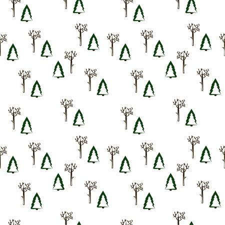 Seamless pattern: Christmas trees, shrubs and trees on a white background. vector illustration Banque d'images - 133104505