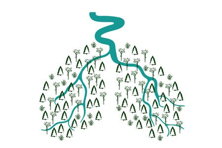 River and forest in the form of human lungs on a white background. Vector. environmental. illustration Banque d'images - 133104512