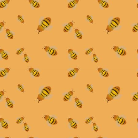 Seamless pattern: insects bees of different sizes on a yellow background. Banque d'images - 133104513