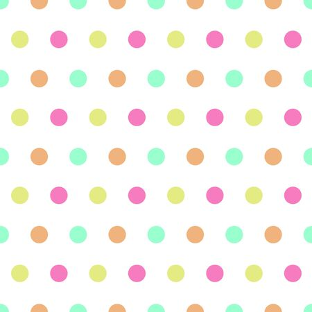 Seamless pattern: isolated multicolored polka dot on a white background. funny childish pattern. vector. illustration Banque d'images - 133104514