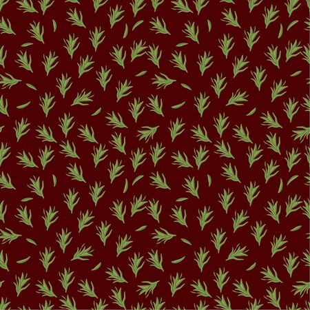 Seamless pattern: green rosemary herb on a brown background. flat vector. illustration