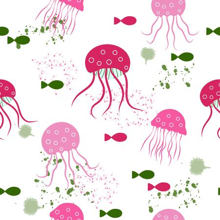 Seamless pattern: isolated pink jellyfish and fish on a white background. vector. illustration Standard-Bild - 133662091