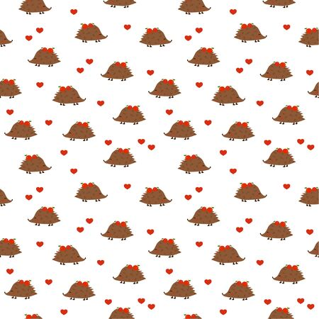 Seamless pattern: Isolated cute hedgehogs with apples and hearts on a white background. flat vector. illustration Banque d'images - 133662092