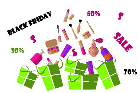 Poster of black friday. Cosmetics and gifts on sale. flat vector. illustration Banque d'images - 133662093