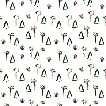 Seamless pattern: isolated trees and bushes on a white background. winter pack. vector. illustration Banque d'images - 133662095